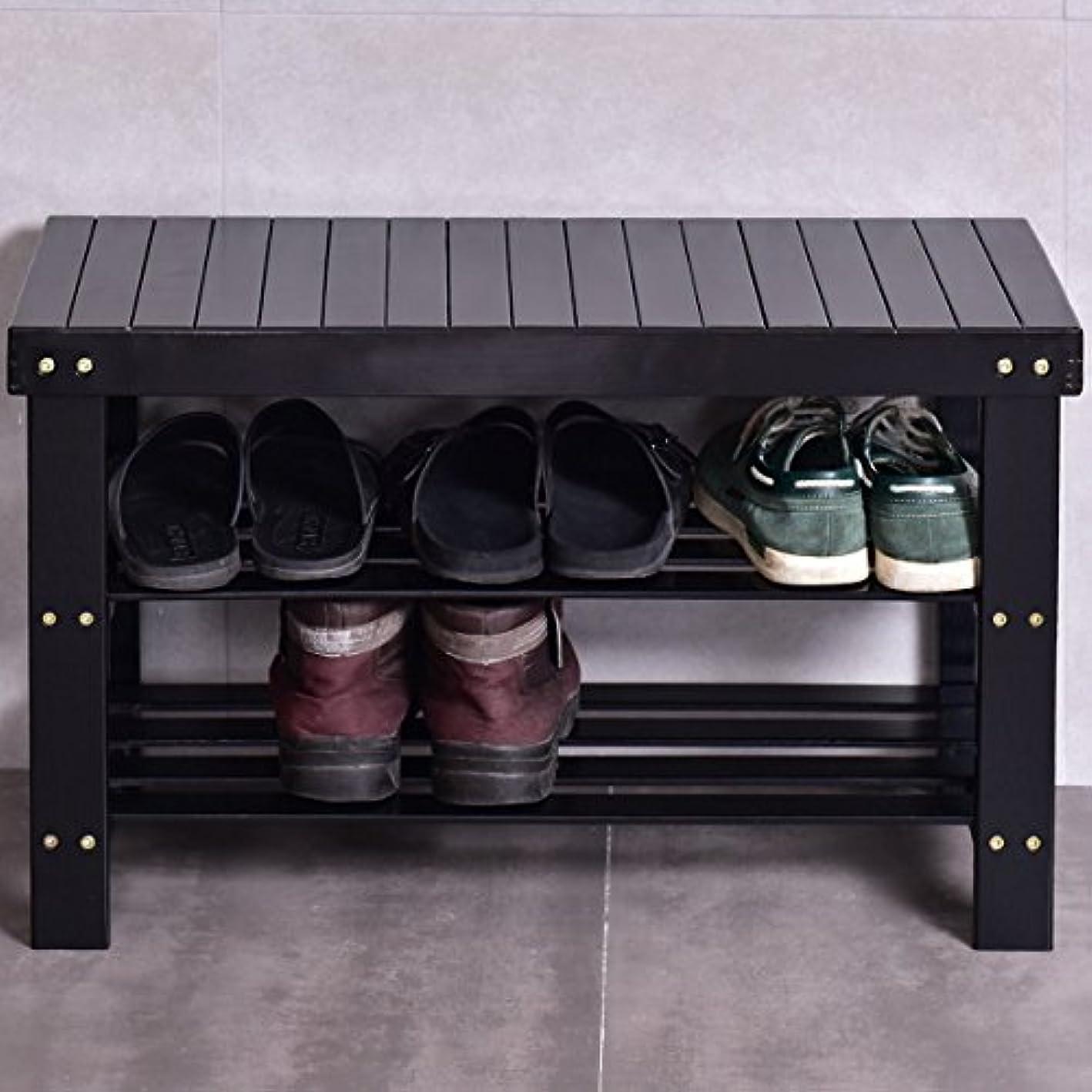 Black 3 Tier Bamboo Shoe Rack Bench Storage Shelf Organizer Entryway Home Furniture