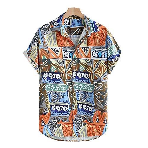 Camisa de Estilo de Vacaciones Hawaiano de Vacaciones de Ocio Retro para Hombre Camisas de Moda de Manga Corta Impresas Streetwear XL