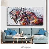 Carteles e impresiones modernos Graffiti dos caballos corriendo cuadro sobre lienzo para pared imágenes de animales para el diseño del hogar de la sala de estar 60x120 CM (sin marco)