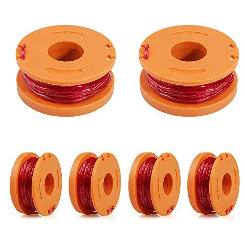smileh Rasentrimmer Faden 6 Stück Fadendurchmesser Nylon Ersatzfaden Rasentrimmer Spulen Kompatibel für Worx für verbesserte Schneidgeschwindigkeit