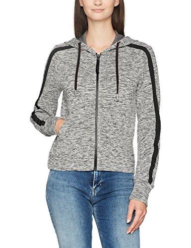 Calvin Klein Jeans Damen HAVA Logo Hooded Zip Through Kapuzenpullover, Schwarz (Black Heather 901), X-Small