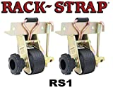 Rack-Strap RS1 Yellow Zinc Plated Steel Frame Right Angle Mounting Bracket with 8' Black Polyester Strap, 500 lbs Load Capacity, For Square Tubing and Angle Iron (Pack of 2 straps)