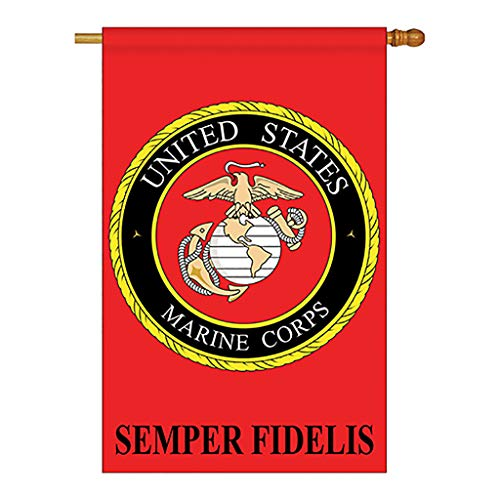Two Group - Marine Corps Americana - Everyday Military Applique Decorative Vertical House Flag 28' x 44'