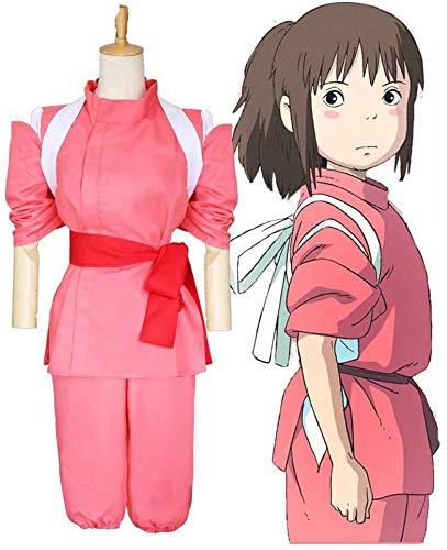LOTOTLOMCA Spirited Away Ogino Chihiro Cosplay Kostüm Kleid Anime Kostüm Für Erwachsene Kostüm Anzug Party,XL