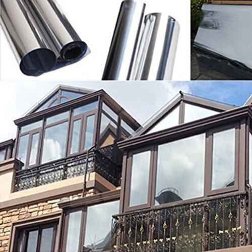 Adhesivo reflectante para ventana de privacidad de una manera plateada con efecto espejo y control solar, As Picture Show, 200cm x 50cm