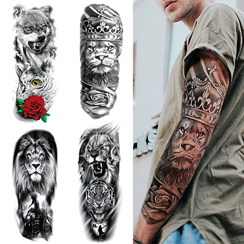 Feelairy 4 Blätter Full Arm Temporäre Tattoos, Extra Groß Vollarm Tattoos Temporär Tätowierung Schwarz Klebe Tattoo Aufkleber Fake Arm Tiere Tattoos Sticker Für Männer Frauen