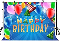 NEWボーイズブルーベビーシャワー子供の誕生日バナーの背景ケーキ表装飾用10x7ftハッピーバースデーの背景には、フォトブースの小道具用品220