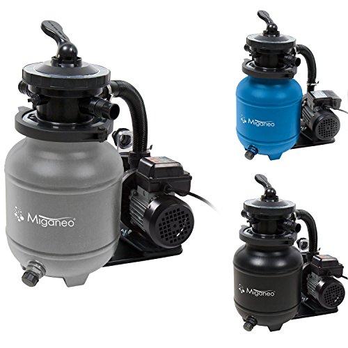 Miganeo® Speed Clean 7000 Sandfilter mit Zeitschaltuhr für Pool bis 22m³ selbstsaugend (Silber)