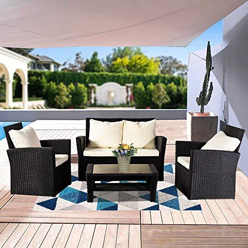 Set di 4 mobili da giardino in rattan, con tavolo da salotto, ideale per giardino, portico e divano in rattan