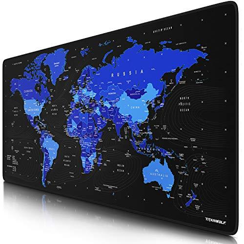 Titanwolf – XXL Gaming Mauspad 900x400 mm - Tischunterlage mousepad groß - Präzision und Geschwindigkeit - Gummiunterseite - rutschfest strapazierfähig wasserabweisend – Weltkarte schwarz blau