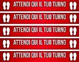 mural stickers Adesivi CALPESTABILI - ASPETTA Qui Il Tuo Turno - Striscia - Linea - Riga - DISTANZIAMENTO Sociale - Locali - Negozi - ATTIVITA' Commerciali - STRISCIA2 Rosso 5 Pezzi - 60 X 8 CM
