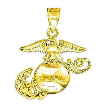 American Heroes 14k Gold Medium Charm US Marine Corps Military Pendant
