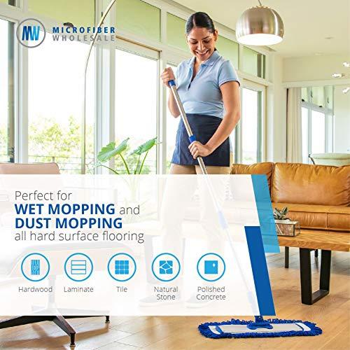 18' Professional Microfiber Mop   Stainless Steel Handle   3 Premium Mop Pads + 2 Free Microfiber Cloths