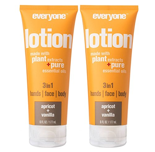 Everyone 3-in-1 Apricot and Vanilla Lotion (Pack of 2) Nourishing Moisture with Vitamin E, Orange Peel Oil and Aloe Barbadensis Leaf, 6 fl. oz.