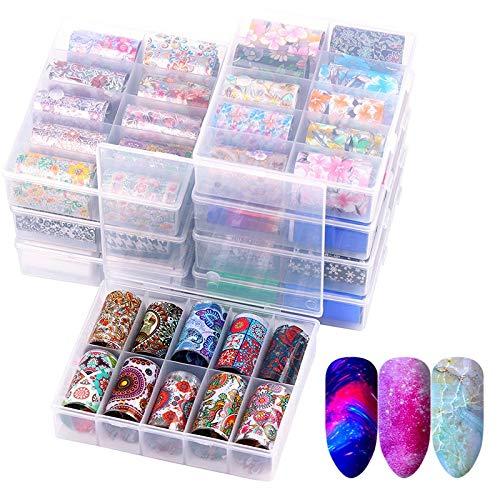 10 Pcs Holographic Nail Foil Set Transparent Leopard AB Color Nail Art Decoration 4 * 60cm Manicure DIY Holo Transfer Stickers
