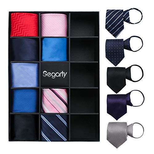 Zipper Ties for Men, 14PCS Segarty Skinny Easy Tie, Solid Silk Mens Pre Tied Necktie Set