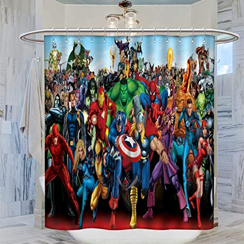 Trelemek Superhelden Superman Batman Spider-Man Duschvorhang, 183 x 183 cm, wasserdicht, mit 12 Kunststoffhaken, waschbarer Badvorhang