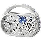 リズム(RHYTHM)シチズン 目覚まし時計 アナログ 防災 ディフェリアR04 AM/FM ラジオ 発電 LED ライト 携帯電話 充電機能 白 CITIZEN 4RQA04-003