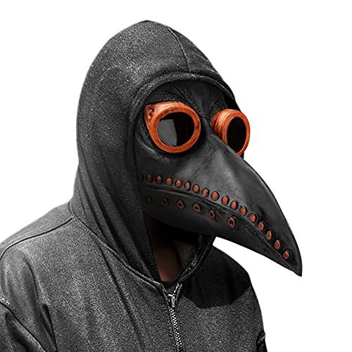 Achort Maschera del Medico della Peste, Cosplay Maschera Steampunk Oggetti di Scena di Halloween Maschera Uccelli in Lattice retrò Uccello dal Naso Lungo Maschera Adulti Dottore della(Nero)