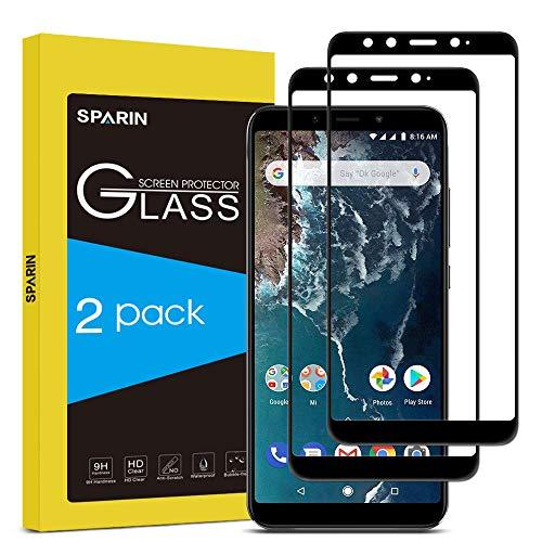 SPARIN [2-Pack] Cristal Templado Xiaomi Mi A2, Full-Cover Protector Pantalla Xiaomi Mi A2 [Sin Burbujas] [Anti-Arañazos] [Dureza 9H] [Anti-Huella] Negro