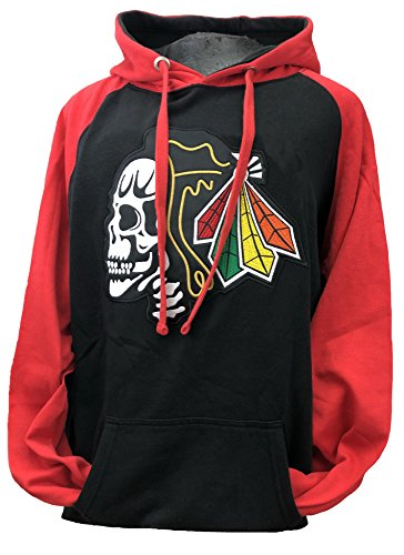 Fear The Feathers Skull Blackhawk Hockey Hoodie (Large)