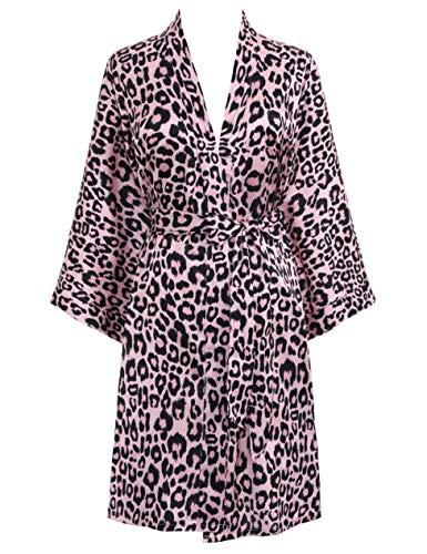 PRODESIGN Damen Morgenmantel Kurz Kimono Gedruckt Strandkleid Sommer Satin Bademantel Blumen Muster Robe Leopardenmuster/Kuhmuster Damen Nachtwäsche Girl Pajama Party (Leopard/Rosa)