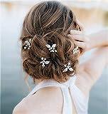 Cathercing, horquillas para el pelo para novia,con diseño de hojas,perlas y diamantes de imitación,para bodas,accesorios para el pelo,peinetas,para fiestas de noche,disfraces,3 unidades (plata)