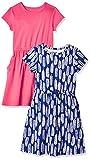Spotted Zebra Lot de 2 robes en tricot à manches courtes taille cintrée pour fille, Feathers/Red, US 2T (EU 92-98)