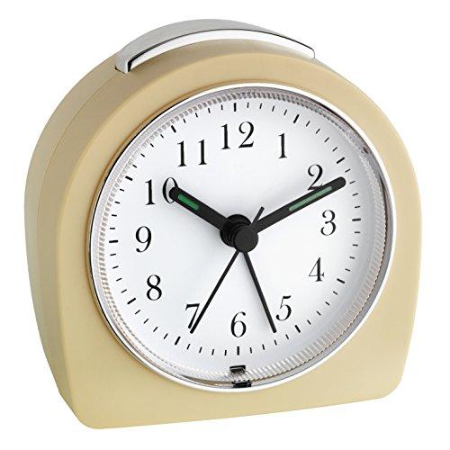 TFA Dostmann Analoger Wecker, 60.1021, leises Uhrwerk, Alarm mit Snooze-Funktion, Hintergrundbeleuchtung, beige