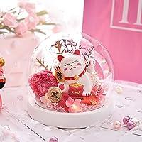 手作り保存の花のローズ、永遠にLEDライト、マネキラッキーキャットスタイルヘッド、バレンタインデー、誕生日、記念日、クリスマス