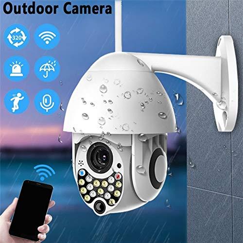 PTZ-camera 17 LED WLAN IP-dome-bewakingscamera buiten 1080P Pan 320 ° / Tilt 110 °, 2-weg audio, app-alarm, infrarood nachtzicht, bewegingsdetectie, toegang op afstand met toon- en lichtalarm 1080p camera.