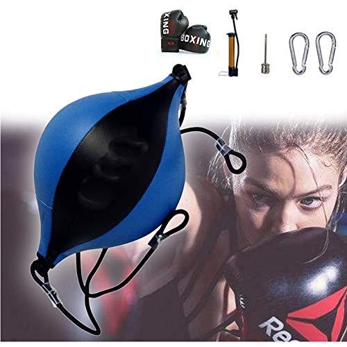Beroep Double End Bag Boxing, Double End Speed Ball Met Handschoenen, Bokszakken Lederen Boksen Vloer Tot Plafond Touw Voor Het Verbeteren Van De Snelheid Hand OogcoöRdinatie,Blue