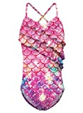 Funnycokid Badeanzüge für Mädchen Rüsche One Piece Badeanzugs Bademode 10-12 Years Bathing Suit UPF 50+ UV