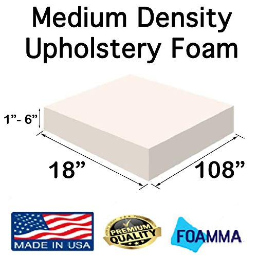 Great Features Of FOAMMA  4 x 18 x 108 Medium Density Upholstery Foam (Chair Cushion Square Foam...