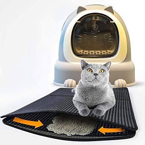 Nasharia Katzenklo Matte 65 x 45cm, wasserdichte rutschfeste Zweischicht Haustier-Katzenstreu Matte-Katzenklo Vorleger Waben Design