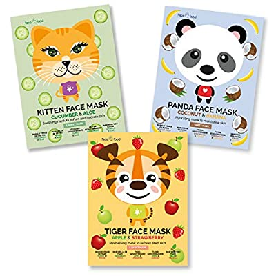 Face Food Party Animals Face Sheet Mask Pack Apple & Strawberry, Cucumber & Aloe, Coconut & Banana to Soothe, Hydrate And Revitalise Dry And Tired Skin