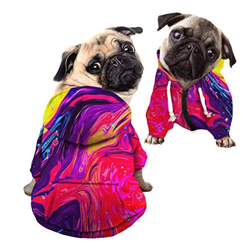 HUGS IDEA Sudadera con capucha para perro, ropa para mascotas, color rojo fluido, abstracto, con cremallera, para perros, gatos, camisas con capucha, sudaderas  L