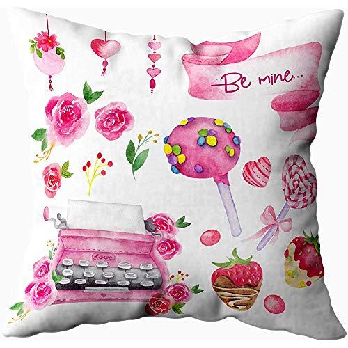 July kussenslopen kussenslopen, Valentijnsdag set met Flower Candy Berry Chocolate, groen geel