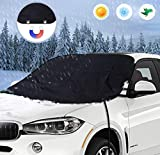 Car Windscreen Cover, Car Windshield Frost Cover Magnetic Windshield Protector with Elastic Hooks Perfect Resists Frost Snow Ice Sun UV Dust- Fits Most Cars, SUV(175x120 cm)