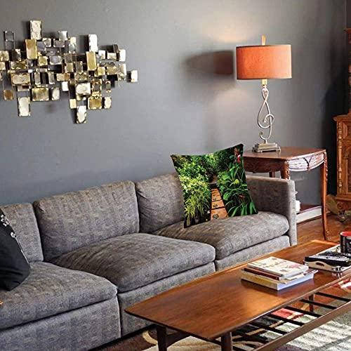 Federa decorativa per cuscino Zen Giardino, rigoglioso giardino con piante tropicali e sentiero in legno Tranquility Harmony Theme Fodera per cuscino quadrato per divano letto di casa 40x40cm