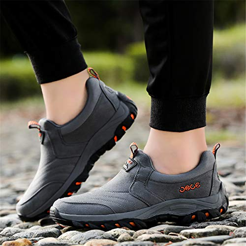 Suede Hiking Shoes, Gracosy Men's Suede Fashion Sneaker, Outdoor Athletic Slip On Shoes, Casual Shoes – Breathable, Slip-resistant Black 39 EU