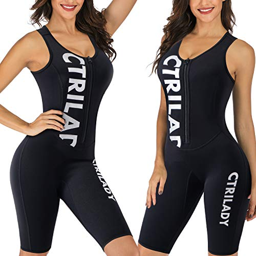 CtriLady Wetsuit Women 1.5mm Neoprene Shorty Wetsuit Sleeveless Vest Diving Suits with Front Zipper UV Protection Full Body Swimwear for Swimming Surfing Kayaking Snorkeling (Black, Large)