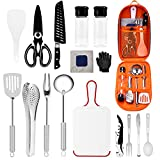 Camping Kitchen Utensils Set 16 Pieces of Portable Camping cookware Stainless Steel Barbecue Accessories for Camping, RV, Travel, Barbecue, Party, etc.