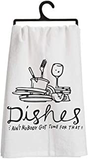 FaceYee Dish Towels Dishes Ain`t Nobody Got Time for That Washcloths Dishcloth Kitchen Decor 14x 30 Inch(35x75cm) Color:Ai...