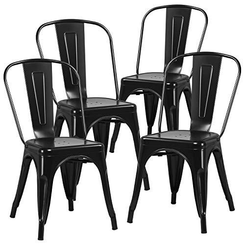 Yaheetech Wohnzimmerstuhl Barhocker Bistrostuhl stapelbar Metallstuhl bis 155kg belastbar Metall für Küche Wohnzimmer