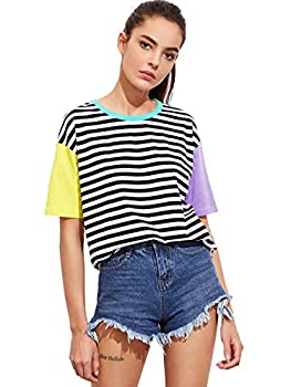 Romwe Women s Colorblock Summer Contrast Neck and Sleeve Casual Striped Tee T-Shirt Top Yellow Purple Large