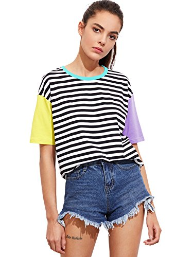 ROMWE Women's Contrast Neck and Sleeve Striped Tee Multicolored M