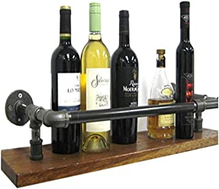 FJFSC Wall Shelves Back and Floating Shelf Wall Shelf Vintage Style Wood Wall Shelf with Iron Water Pipe clamp Wine Rack f...