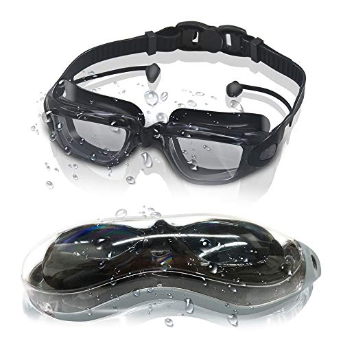 GLOUE Swim Goggles, Swimming Goggles with Attached Ear Plugs Clear Anti-Fog Lenses, Underwater...