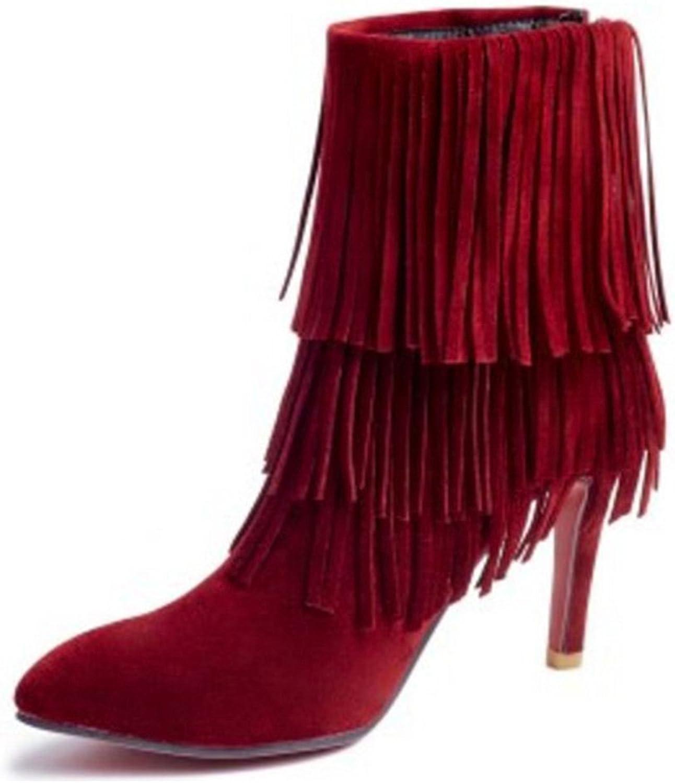 RizaBina Women Fashion Stiletto Ankle Tassel Boots with Back Zipper